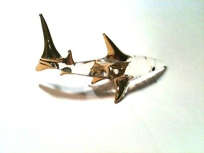 Small Beautiful Hand Blown Glass Shark Figurine 12K Gold Highlights