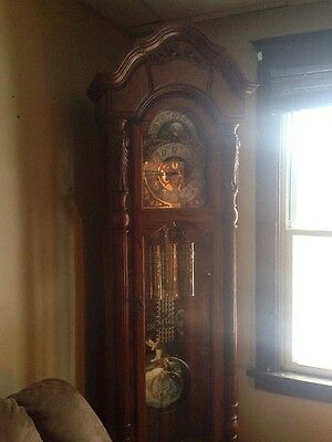 Sligh Cherry Vintage Grandfather or Tall Case Clock, Westminster Chime