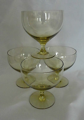 4 Russel Wright  American Modern Morgantown Chartreuse Water Goblets Glasses
