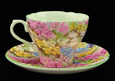 "Shelley ""Rock Garden"" Chintz New Cambridge Shape Cup Saucer"