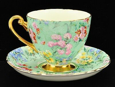 "Lovely Shelley ""Melody"" Chintz Ripon Shape Cup Saucer"