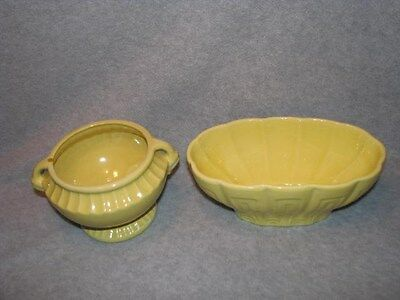 Lot Vintage Yellow Art Pottery Haeger Oval No 17 USA  & NSCo CLEVE O USA #101