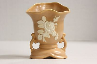 Vintage Weller Pottery Salmon Peach Pink Vase Rose Console Cameo 1897 1930's