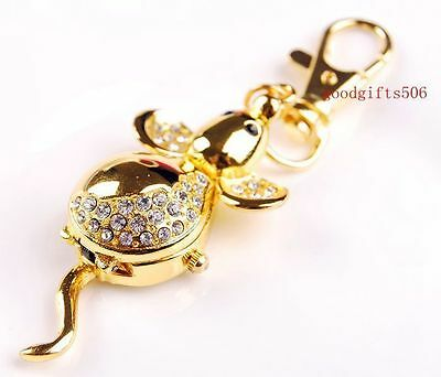 Wholesale 10 pcs Crystal Mouse style key ring watches gifts R31-FREE POSTAGE