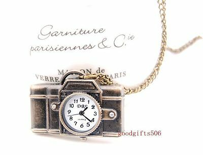 Wholesale Gifts 10 pcs Cute Camera Design Necklace Pendant watches R32-FREE SHIP
