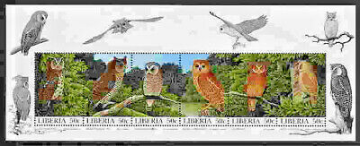 OWLS Se-Tenant Sheet of 6 Different Mint Never Hinged Liberia #1277 a-f 1997
