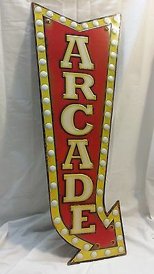 Embossed ARCADE Arrow SIGN Carnival Video Games Theater Exit Highway Mobil Games