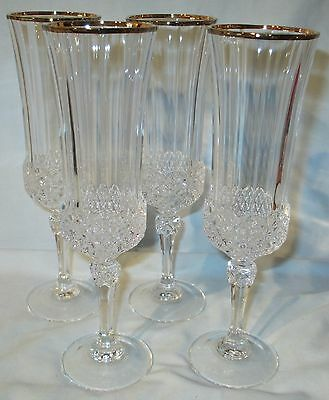 Cris Cristal d'Arques Valencay with gold trim Fluted Champagne set of 4