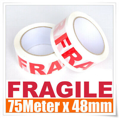 5 Rolls 66M x 48mm WHITE RED Fragile Tape 66 meter Packaging Packing Tape 45U