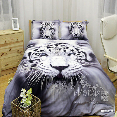 Quilt/Doona/Duvet Cover Set Tiger Single/Double/Queen/King Size Bed Animals New