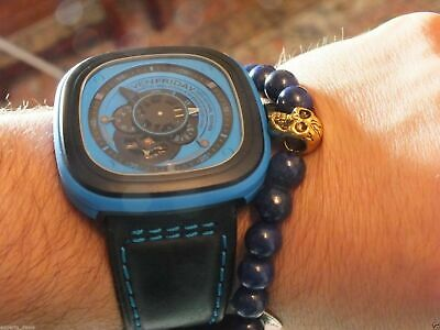 Namaste Jewelry Skull Blue Agate Stone Bead with Yoga Gold Ball Bracelet Watch