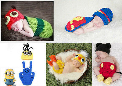 Newborn Infant Baby Beanies Hats Pants Costume Crochet Cosplay Photography Prop