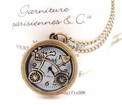 Wholesale Gifts 10 pcs bike Round case Necklace Pendant watches R33-FREE SHIP