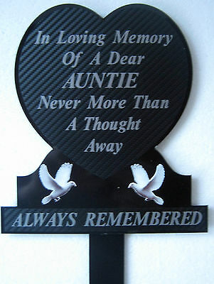 Memorial Plaque Grave Heart Personalised AUNTIE In Loving Memory White Doves