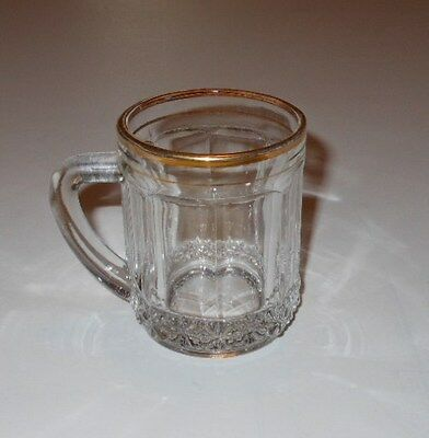 Small glass mug stein cup France gold rimmed miniature vintage