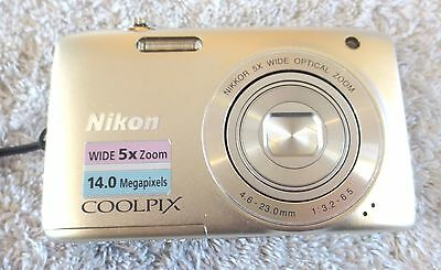 Nikon COOLPIX S3100 14 MP MEGAPIXEL 5X ZOOM DIGITAL CAMERA with Battery, Charger