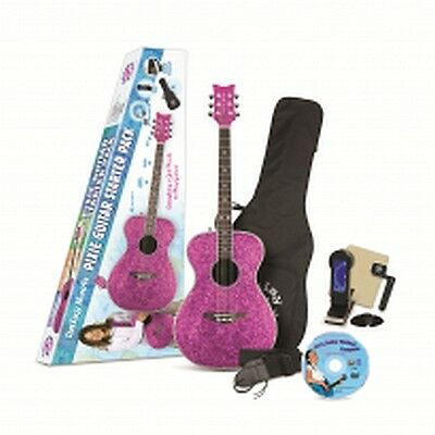 Daisy Rock Pixie Acoustic/Electric Guitar Starter Pack (Pink Sparkle)