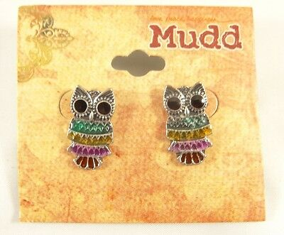 New Pair of Adorable Multi  Colored Metal Owl Earrings NWT #E1226