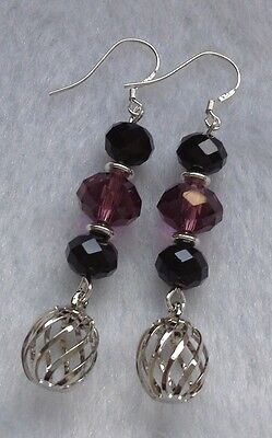 Gina's Charms FILIGREE + WINE CRYSTAL - 925 STERLING SILVER Gemstone Earrings