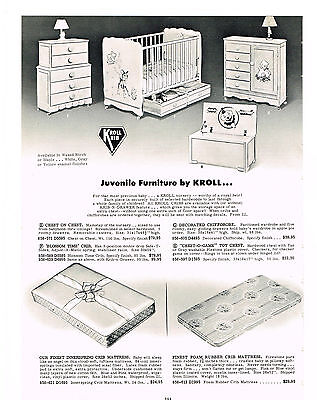 1954  Ad Juvenile Furniture By Kroll Chest Crib Toy Chest Hi-Chair Chrome