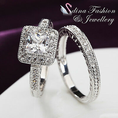 18K White Gold GP Simulated Diamond Studded Square Cut Luxury Silver Ring Set