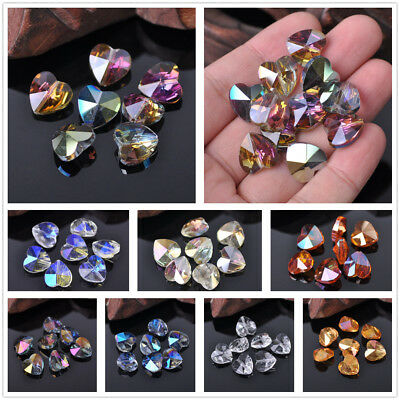 Hexagon Faceted Crystal Glass Charms Loose Spacer Rondelle Beads 14 18mm 10Pcs