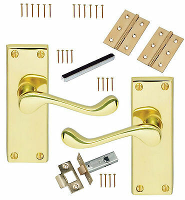 Solid Brass Lever Latch Door Handles Scroll Internal Pack + Hinges & 76mm Latch