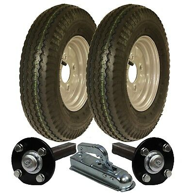 High speed trailer kit 4.80/4.00 - 8 road legal wheels + hub & stub axle, hitch