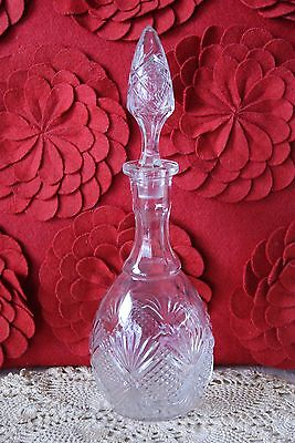 Vintage Pressed glass Liquor Bottle, Decanter with Etched Glass Stopper