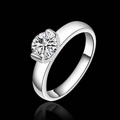 Women 925 solid silver AAA Crystal CZ Ring Fashion Jewelry size 7 8