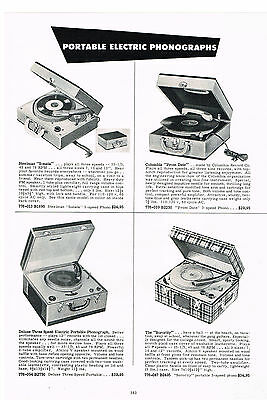 1954  Ad Phonographs Portable Electric 3-Speed Steelman Columbia Sorority