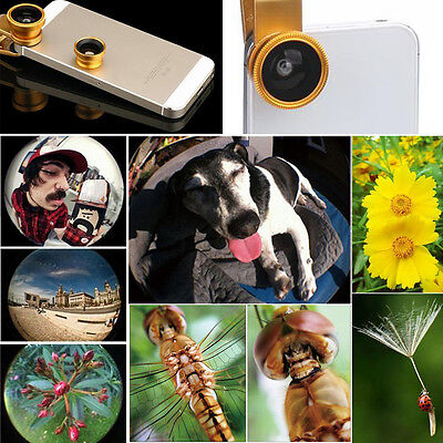 Universal Clip On Fish Eye Wide Angle Macro Lens for Smart Phone Camera Tablet