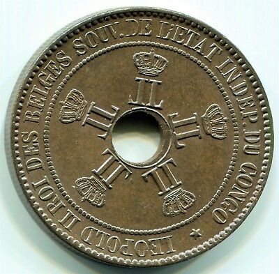 Congo Free State - 1889  10c  KM#4  in Choice Toned Unc