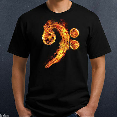 Fire BASS Clef T Shirt - Musical Mens Ladies Crew V Neck - Flame Music