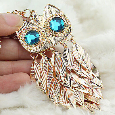 Hot Sale Women Lady Girl Gold Alloy Leaves Owl Charm Pendant Necklace Long Chain
