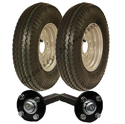 High speed trailer kit 4.80/4.00 - 8 road legal wheels + hub & stub axle 400 - 8