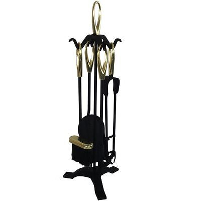 5 Piece Companion Set Black Fireside Fire Tools Vintage New By Home Discount