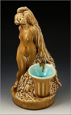 Rookwood Pottery Nude at Urn w/ Peacock Figural Candleholder