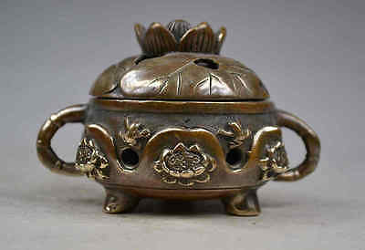 Old Collectibles Decorated Handmade Copper Casting Lotus Flower Incense Burner