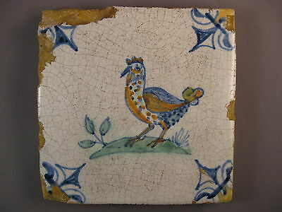 Antique polychrome Dutch Tile chicken rare 17th century -- free shipping