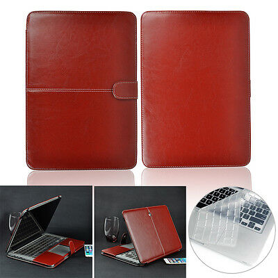 Brown Leather Sleeve Case+ Keyboard Cover For Macbook AIR/PRO/RETINA 11 12 13 15