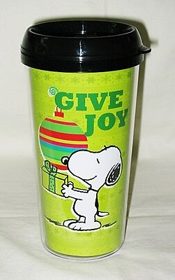 Gibson Peanuts Snoopy Christmas Give Joy Wrap 16-oz Tumbler w/Lid
