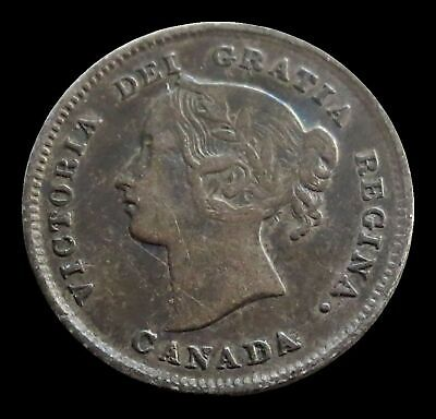1894 Silver Canada 5 Cents Victoria Coin Extremely Fine Condition