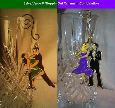 "Unique Ballroom Dance Ornament Combo: ""Salsa Verde "" & ""Steppin' Out"""
