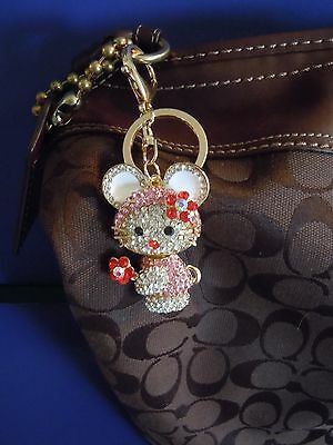 Fabulous Hello Kitty Rhinestone And Medal Alloy Purse Charm And Or Key Chain.