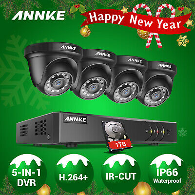 ANNKE 1080P 8CH DVR H.264+ Outdoor 2MP Security Camera System Smart Playback 1TB