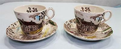 2 Cup & Saucer sets  Vintage Dickens WH Grindley Staffordshire Coaching Stages