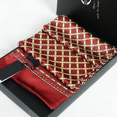 Luxurious Gifts! Mens 100% Silk Long Scarf/Cravat Double Layer  Red