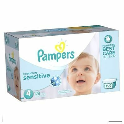 Pampers Swaddlers Sensitive Diapers Size 4 Economy Pack Plus 128 Count, NEW