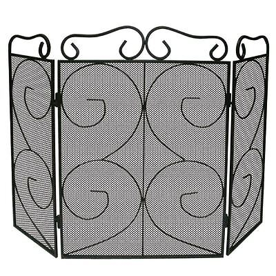 Fire Screen Black 3 Panel Protector Cover Fireplace Shield New By Home Discount